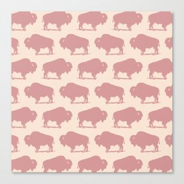 Buffalo Bison Pattern Dusty Rose Canvas Print