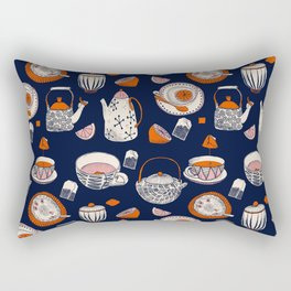 TEA PARTY for TEA LOVERS - navy blue Rectangular Pillow