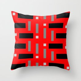 Pattern of Squares in Red Throw Pillow