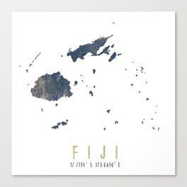 Blue and Gold Map of Fiji Canvas Print