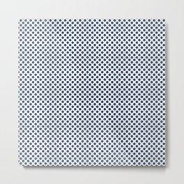 Navy Peony Polka Dots Metal Print