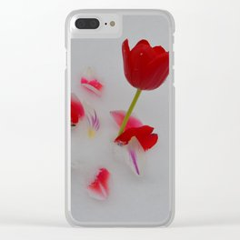 Vibrant Red Tulips In White Snow Clear iPhone Case