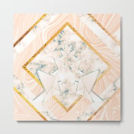 Paper doves on marble Metal Print
