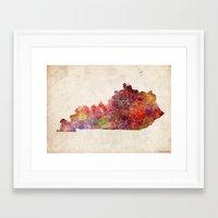 kentucky Framed Art Prints featuring kentucky map by MapMapMaps.Watercolors