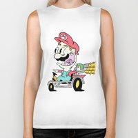 mario kart Biker Tanks featuring Mario Kart by Le Hamburger