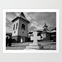 Winter at Petru Voda Monastery, Moldova, Romania Art Print