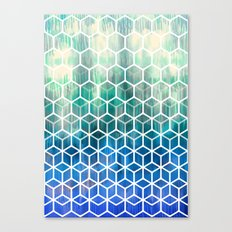 The Geometry of Bees and Boxes - cobalt blue, emerald green, mint & white Canvas Print