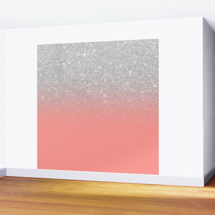 Modern chic coral pink silver glitter ombre gradient Wall Mural