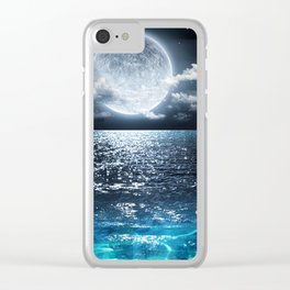 Moon and Ocean Clear iPhone Case