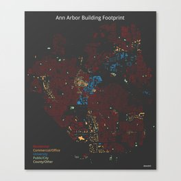 Ann Arbor Building Footprint Canvas Print