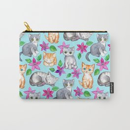 Kittens and Clematis - blue Carry-All Pouch