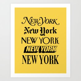 New York City Yellow Taxi and Black Typography Poster NYC Art Print
