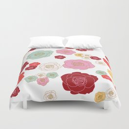 floral roses in warm reds Duvet Cover