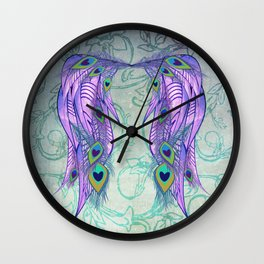 Peacock Feather Angel Wing Wallpaper Wall Clock