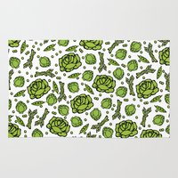 vegetables Area & Throw Rugs featuring Green Vegetables by Alisa Galitsyna