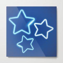 Three Neon Blue Stars Metal Print