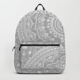 Secret garden mandala in soft gray Backpack