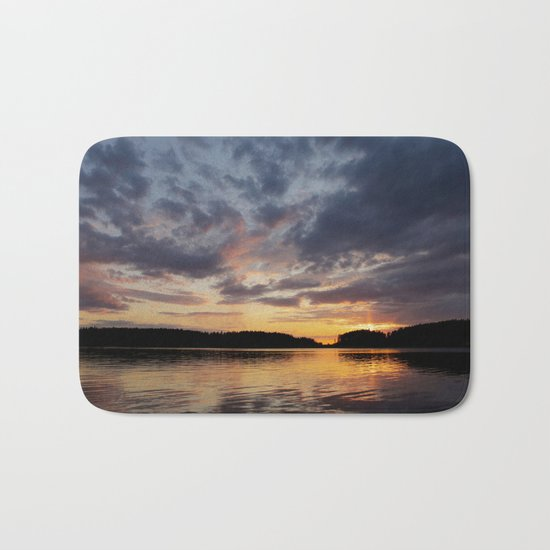 Spring Sunset - beautiful colors and reflections - cloudy sky Bath Mat