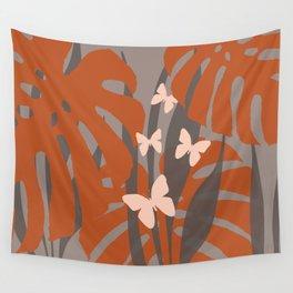 Monstera brown butterflies Wall Tapestry