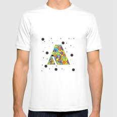 Letter A MEDIUM White Mens Fitted Tee