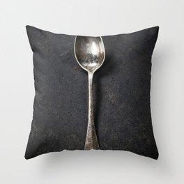 Vintage metal spoon Throw Pillow
