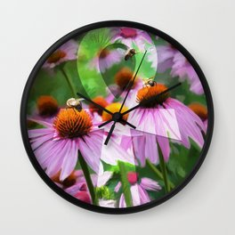 """""""Life"""" - Ankh with Purple Cone Flowers Wall Clock"""