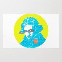 beethoven Area & Throw Rugs featuring Ludwig van Beethoven 15 by Marko Köppe
