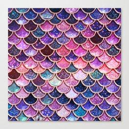 Pink & Purple Trendy Glitter Mermaid Scales Canvas Print