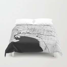 Melbourne City Map Gray Duvet Cover