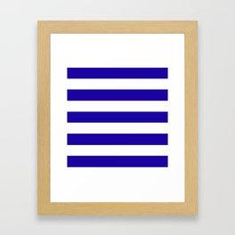 Neon blue -  solid color - white stripes pattern Framed Art Print
