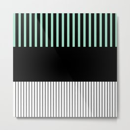 Colour Pop Stripes - Green (Mint) Metal Print