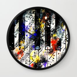 piano keys and music sheet pattern wsstd Wall Clock