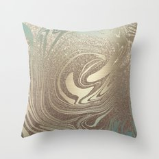 Mermaid Gold Wave Throw Pillow