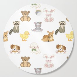Cute Woodland Farm Baby Animals Nursery Cutting Board