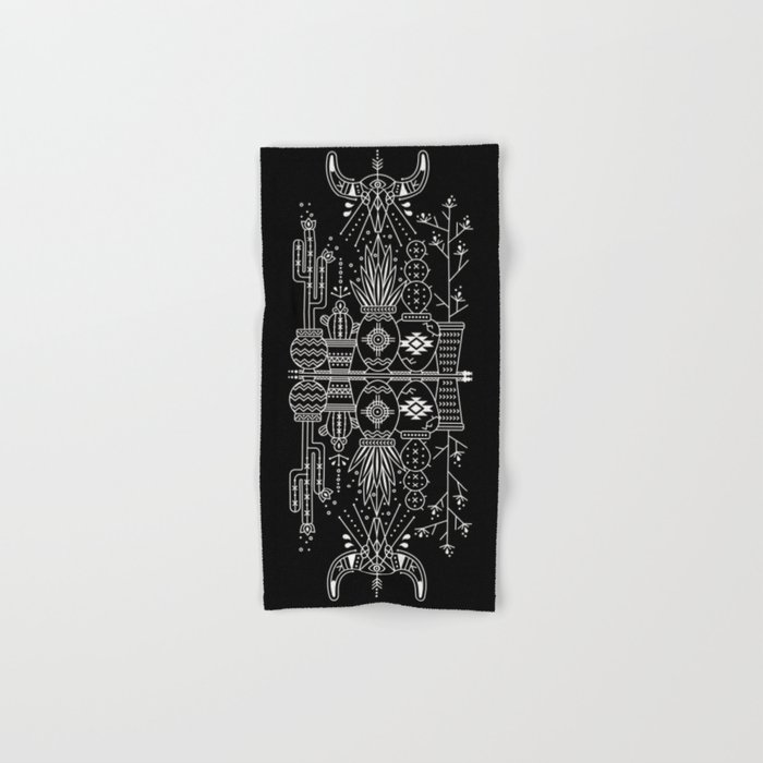 Santa Fe Garden – White Ink on Black Hand & Bath Towel