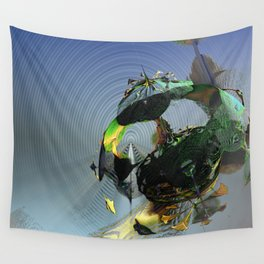 Mysterious Flying Vehicle Landing Wall Tapestry