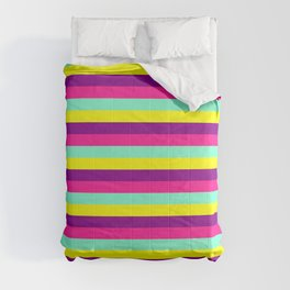 Dark Magenta, Deep Pink, Aquamarine & Yellow Colored Striped/Lined Pattern Comforters