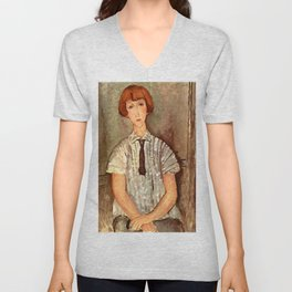 "Amedeo Modigliani ""Young Girl in a Striped Blouse"" Unisex V-Neck"