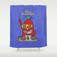 dj Shower Curtains featuring DJ FINGER by PINT GRAPHICS