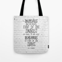 dumbledore Tote Bags featuring Albus Dumbledore Quote Inspirational by Go Art