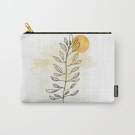 Sun and leaves, modern minimal line drawing botanical line art mid-century modern, minimal home decor, mid century plant art print Carry-All Pouch