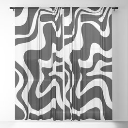 Liquid Swirl Abstract Pattern in Black and White Sheer Curtain