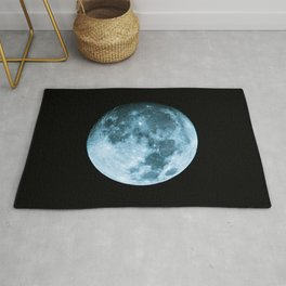Moon on black background – Space Photography Rug