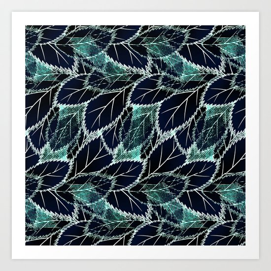 Bright turquoise leaves on a black background. Art Print
