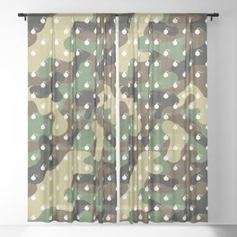 CAMO & WHITE BOMB DIGGITYS ALL OVER LARGE Sheer Curtain
