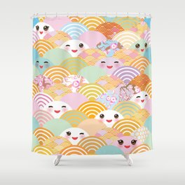 seamless pattern Kawaii with pink cheeks and winking eyes with japanese sakura flower Shower Curtain