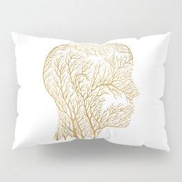 Head Profile Branches - Gold Pillow Sham