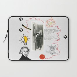 Cat, telephone and Albert Einstein quote Laptop Sleeve