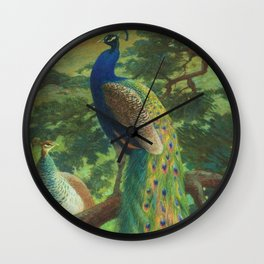 Peacock Chinoiserie Wall Clock