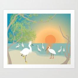 Egrets on a Sunset Beach Art Print